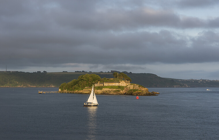 Drake's Island off the coast of Plymouth, England