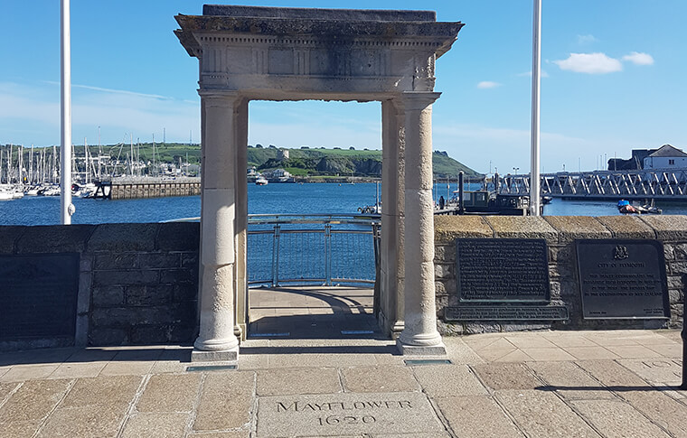 Mayflower Steps, with an arch view