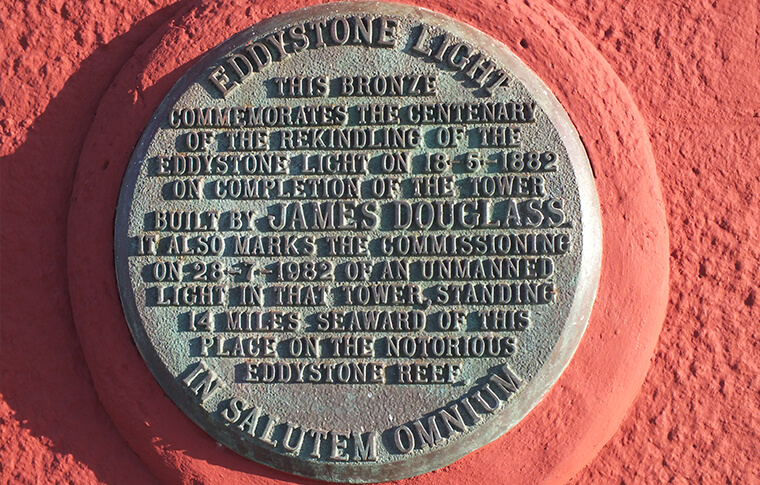 Smeaton's Plaque on the Plymouth Hoe lighthouse