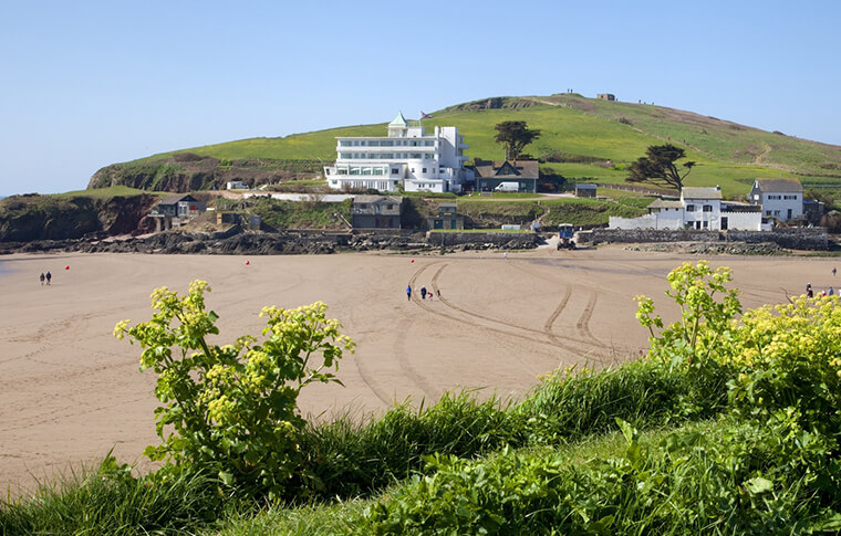 Burgh Island Hotel located next to the beach