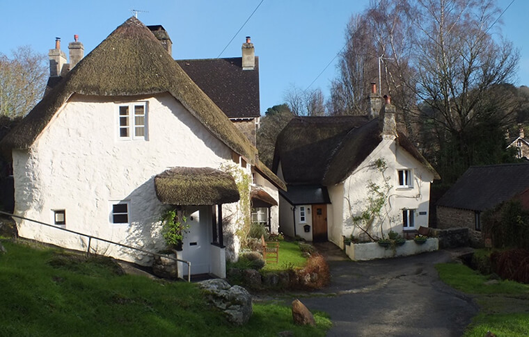 Houses in Lustleigh, a village in Devon