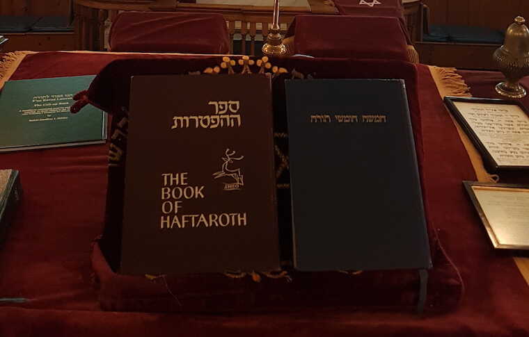 Book of Haftaroth on podium at Plymouth Synagogue