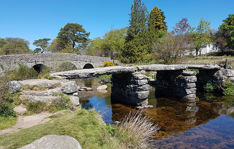 800-year-old clapper bridge in Postbridge